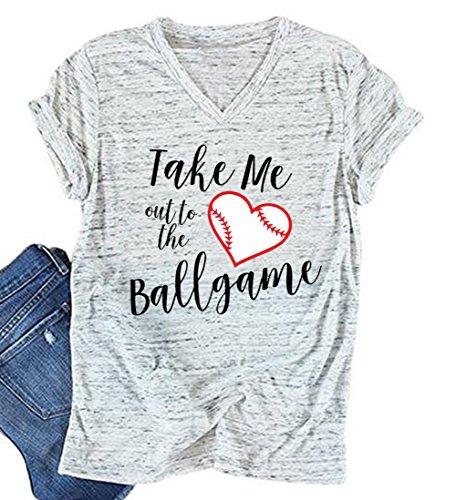 - Women Take Me Out to The Ballgame Football Baseball Jersey T-Shirt Tee Tops Size L (White)