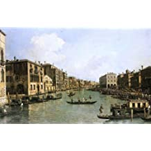 """Canaletto At the Grand Canal from the Campo Santa Sofia Towards the Rialto Bridge - 18.1"""" x 27.1"""" Peel & Stick Removable Wall Decal"""