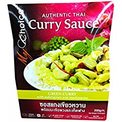 2 Packs of Green Curry Sauce with Aubergines and Mushrooms, Authentic Thai By My Choice Brand. (200 G/ Pack)