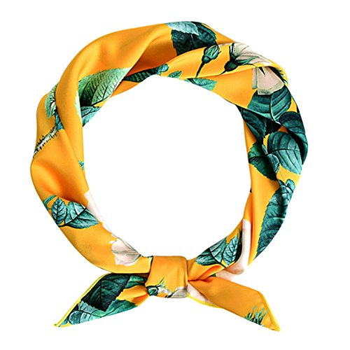 Fashion Neck Scarf (GERINLY Neckerchief Peony Flowers Neck Scarf Summer Fashion Accessory (Yellow))