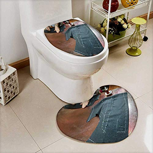 (Printed Bath Heart shaped foot pad Set a tailor s work table with cloth for a jacket cut Toilet cushion suit)