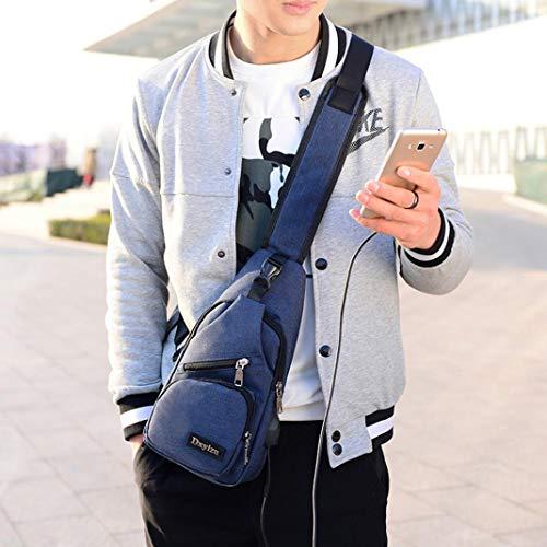 Casual Crossbody Canvas Shoulder Backpack Unbalance Usb Sling Blue Black Sports Bag Outdoor Kanpola qwUAStx