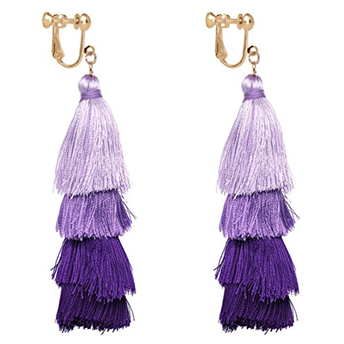 Colorful Layered Tassel Clip on Earrings Bohemian Dangle Drop Tiered Long Thread Handmade Women