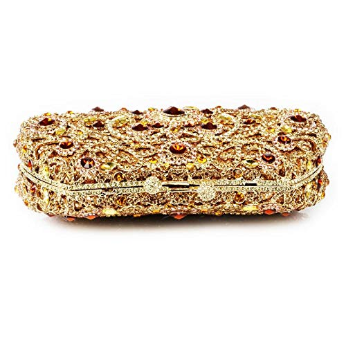 Occasions Womens Clutch for Evening Rhinestones Multi Wedding Detailing Cocktail Bridal Handbag Silver Designed Multi Prom Parties Special Gold BBOrxq