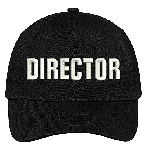 Trendy Apparel Shop Director Embroidered Soft Cotton Low Profile Dad Hat Baseball Cap - Black]()