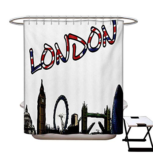 BlountDecor London Shower Curtains Sets Bathroom Cartoon Drawing Style Famous Landmarks of London United Kingdom Big Ben Parliament Satin Fabric Sets Bathroom W69 x L70 Multicolor]()