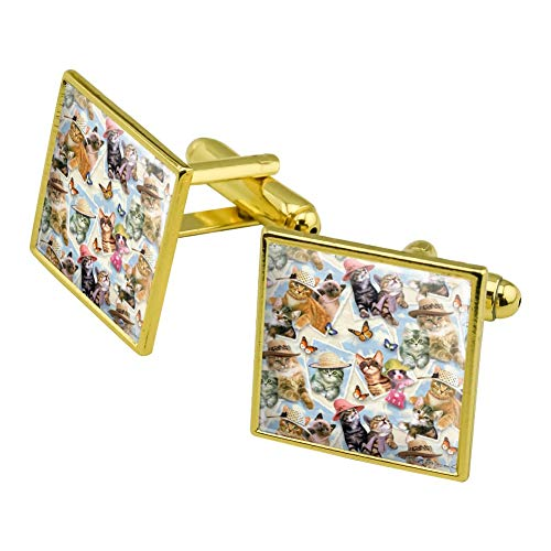 GRAPHICS & MORE Framed Cats Kittens in Hats Butterflies Pattern Square Cufflink Set Gold Color ()