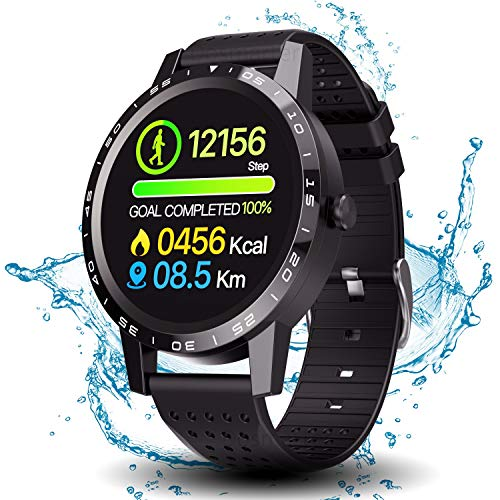 Smart Watch with Connected GPS, IP68 Waterproof Digital Smart Fitness Watches for Man Woman, Activity Tracker with Heart Rate and Blood Pressure Monitor Compatible with Android and iOS (Best Running Watches Under $100)
