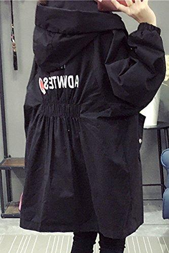 Hoodie Black Con Cordon Chaqueta Estilo Corse Invierno Outwear BF Zip Sólido Mujeres fqpUIp