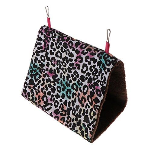 (Forgun Parrot Hammock Pet Birds Bed House Hanging Fuzzy Plush Winter Warm Soft Nest Toy (Leopard Print, L))