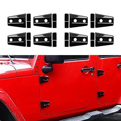 ICARS Black Door Hinge Covers for 4 Door 2007-2017 Jeep Wrangler JK JKU Rubicon, Sahara, Sport Models 4 Door Models Unlimited Accessories