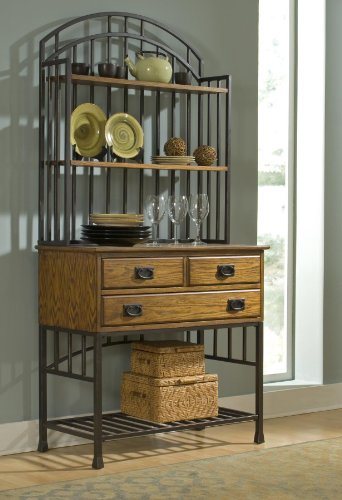 - Home Styles 5050-615 Oak Hill Bakers Rack with Hutch, Distressed Oak Finish
