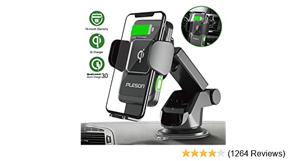 PLESON 10W/7.5W Wireless Car Charger Mount, Auto-Clamp Qi Fast Charging Windshield Dashboard & Vent Car Phone Holder for Galaxy S20+/S20 Ultra/S10+/Note 10+ 5G/S8+, iPhone 11/11 Pro Max/XR/Xs Max/X