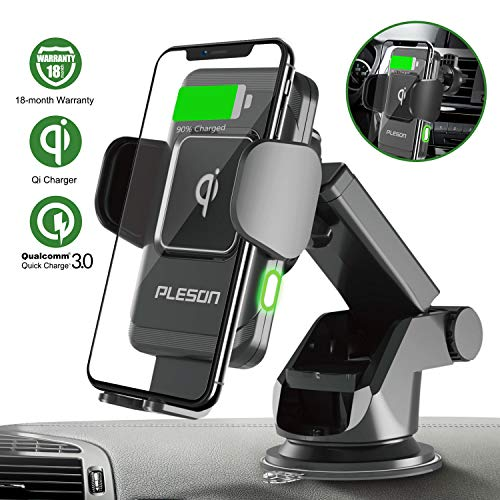 PLESON 10W/7.5W Wireless Car Charger Mount, Auto-Clamp Qi Fast Charging Windshield Dashboard & Vent Car Phone Holder for Galaxy S10 Plus/Note 10+ 5G/S9+/S8+, iPhone 11/11 Pro Max/XR/Xs Max/8+/X – 2019