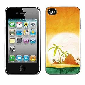 Shell-Star ( Minimalist Beach Island Sunset ) Fundas Cover Cubre Hard Case Cover para Apple iPhone 4 / 4S
