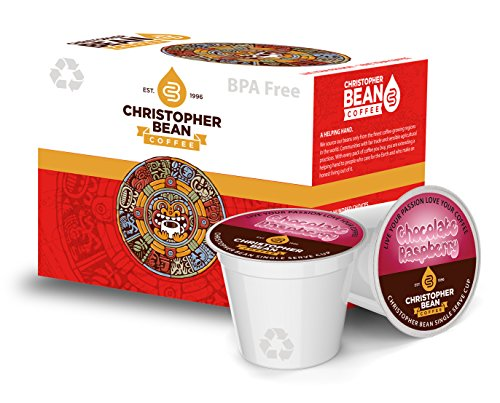 Christopher Bean Coffee Single Coffee K Cup for Keurig Brewers, Chocolate Raspberry (1 Box Of 18 K Cups)