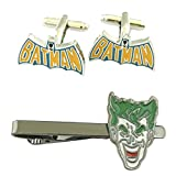 DC Comics - Batman Text Cufflink & Joker Tiebar - Set of 2 Wedding Superhero Logo w/Gift Box