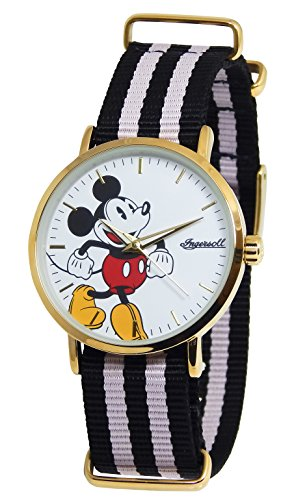 Disney-Ingersoll 009GDPK CLASSIC TIME Ladies Canvas Strap Mickey Watch