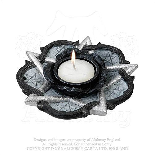Home Décor Candle Tea Light Holder Gothic Black Rose Pentagram Dish Etheral Light of Midnight Rose