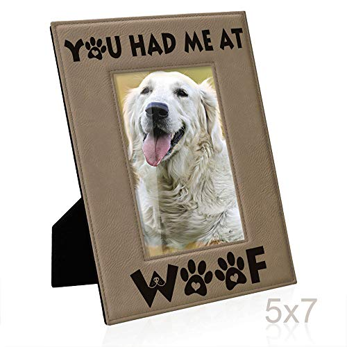 - Kate Posh - You had me at WOOF Engraved Leather Picture Frame - Dog Lover Gifts, Birthday Gifts, Pet Memorial Gifts, New Puppy Gifts, Paws and Bones Decor (5x7-Vertical)