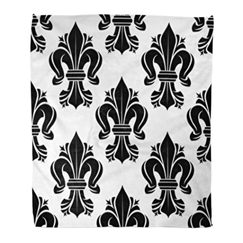 Golee Throw Blanket Black and White Fleur De Lis Floral Pattern Curled Lilies 60x80 Inches Warm Fuzzy Soft Blanket for Bed Sofa