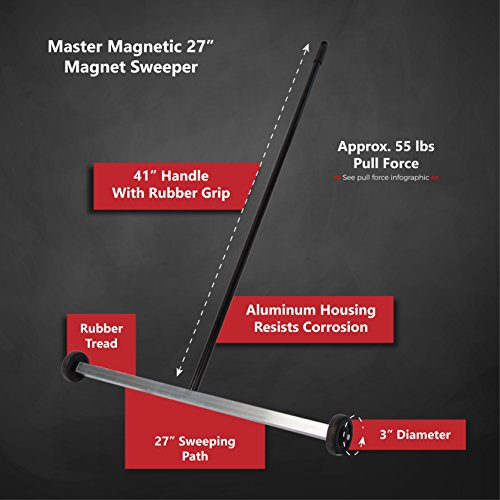 "Master Magnetics Magnet Sweeper | 27"" Wide Push-Type Mini Magnetic Broom with Wheels 