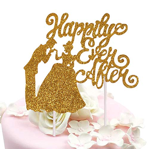 Sunny ZX Wedding & Anniversary Cake Topper - Happily Ever After - Fairytale Dream Wedding Decoration - Prince and Princess Wedding Theme (2Pack) -