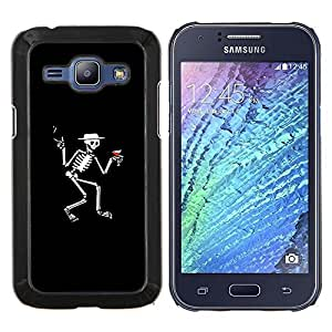 Qstar Arte & diseño plástico duro Fundas Cover Cubre Hard Case Cover para Samsung Galaxy J1 J100 (Esqueleto de Martini - Gracioso)