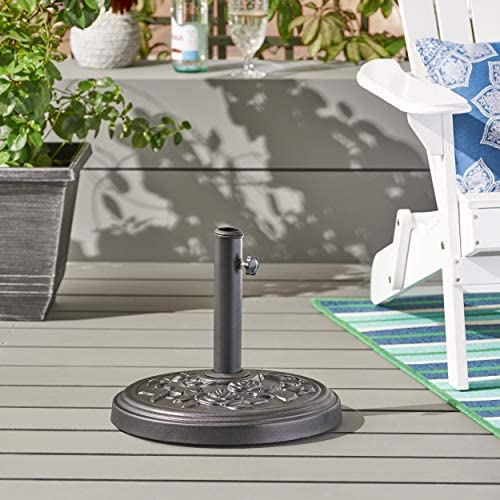 Christopher Knight Home Dione Outdoor Concrete Circular Umbrella Base 33LBS in Polished Black