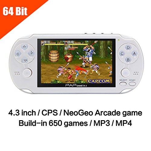 JXD 64Bit 650 Games Handheld Game Console 4.3 Inch Mp5 Portable Video Game Console Support CP1/CP2/NEOGEO/GBA/GBC /GB/SFC/FC/SEGA/SMC Games (GM01049WhiteUS)