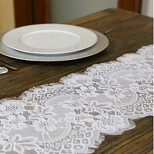 Embroidered and Durable White Lace Table Runner-Feminen 12''x120'' with Floral Fringe-Perfect for Outdoor and Chic Wedding and Bridal/Baby Shower Decorations (1 Piece)]()
