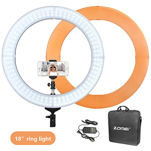 (ZOMEI Camera Photo/Video Outer 240 Pieces LED SMD Ring Light 5500K Dimmable Ring Video Light With Plastic Color Filter Set,)
