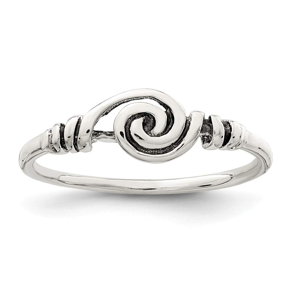Sterling Silver Fashion Ring Solid 1 mm Antiqued Swirl Ring