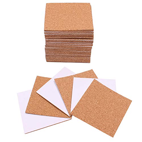 50 Pack Selfadhesive Cork Coasters Square 4 × 4 inch Mini Wall Cork Tiles Mat Cork Backing Sheet for DIY Craft008 inch Thick