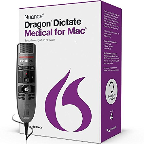 Nuance LFH3500-MAC4 Dragon Dictate Medical for Mac Version 4 ( 1 License Retail Box with No Maintenance) with SpeechMike Premium USB Precision Microphone - Push Button Operation