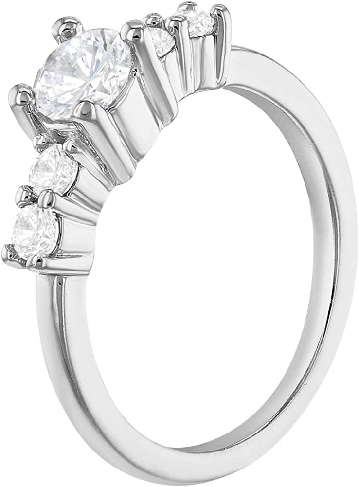 In Season Jewelry Rhodium Plated Clear CZ Small Solitaire Rings for Toddlers or Girls