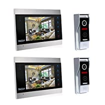 TMEZON Video Door Phone Intercom 7 LCD Full Color Doorbell Intercom Kit 2 Camera 2 Monitor HD 1200TVL Home Security System