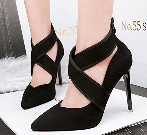 Ankle Zipper Black Aisun Cross Pumps Strap Back Fashion Women's qY818UCt