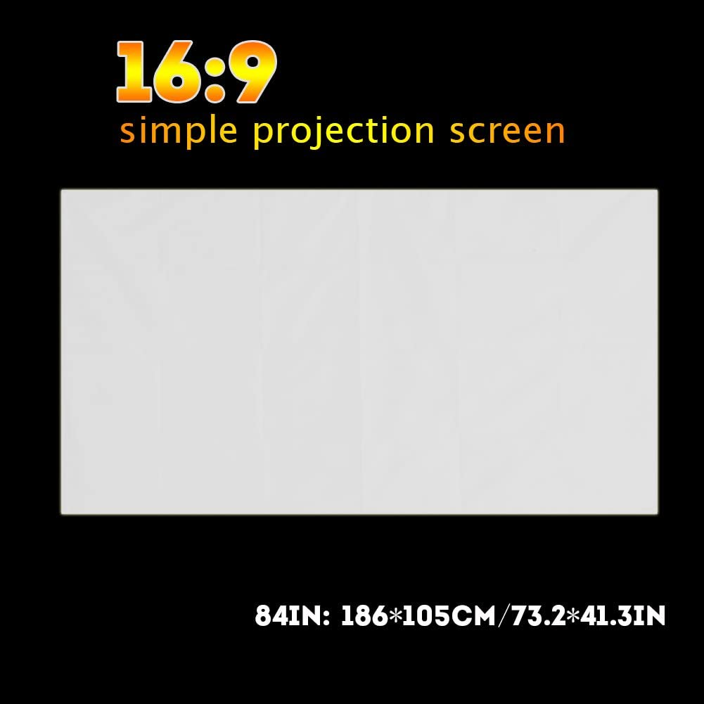 Yosoo- 60-120 Inch Portable White Color Projector Curtain Projection Screen 16:9(84 inches)