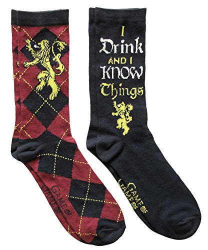 Hyp Game of Thrones Lannister Argyle I Drink and I Know Things Men's Crew Socks 2 Pair Pack