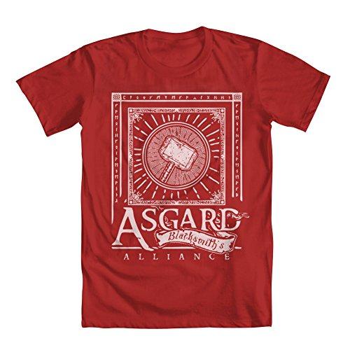 """Asgard Blacksmith's Alliance"" Thor Men's T-Shirt Red X-Large"
