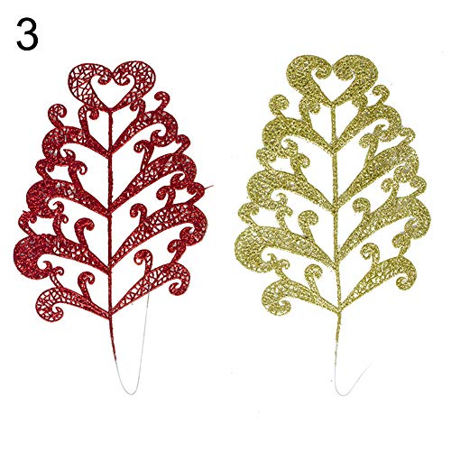 Butterfly Iron Christmas Tree Decorations, 2Pcs Artificial Christmas Colorful Leaves Xmas Tree Ornament Home Party Decor by Butterfly Iron (Image #1)
