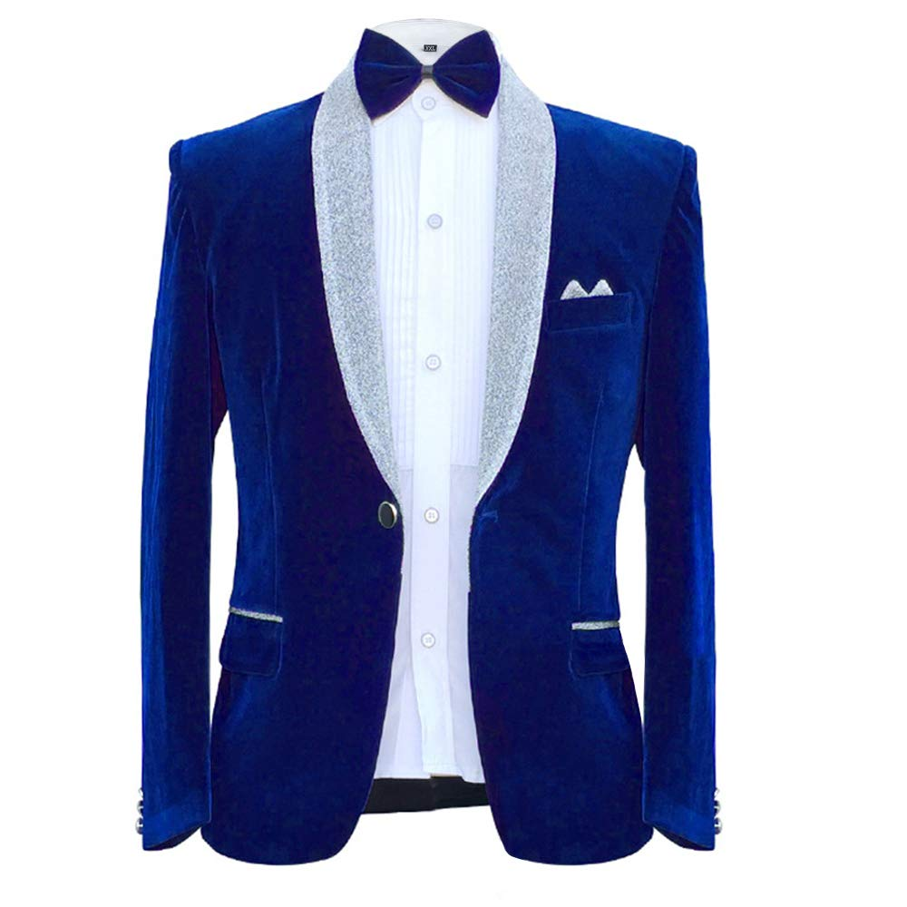 MAGE MALE Men's 2-Piece Suit Velvet Blazer Party Tuxedo Slim Fit One Button Stylish Dinner Jacket & Pants & Bow Tie (025-Blue, Medium) by MAGE MALE