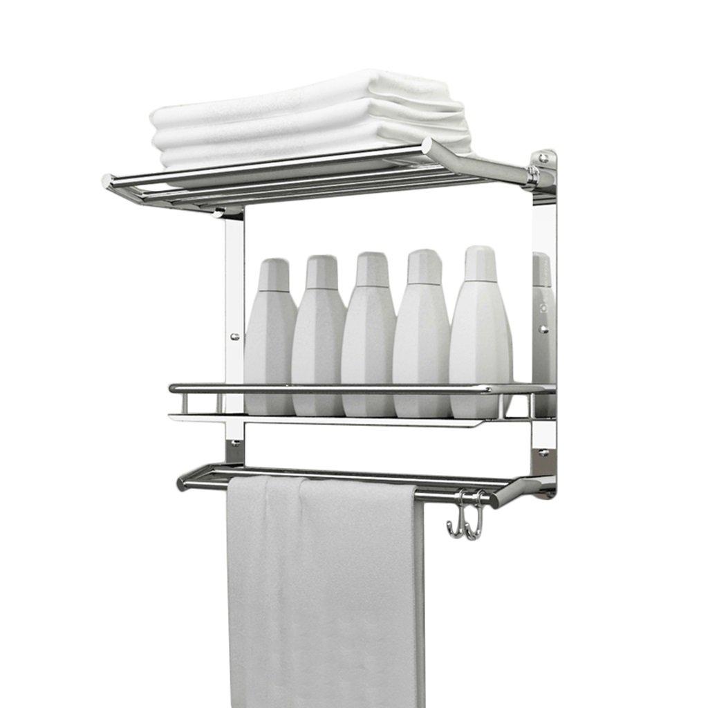 Multifunction Stainless Steel Three Layers Storage Shelf Bathroom Fittings Towel Bar Wall-mounted Towel Rack