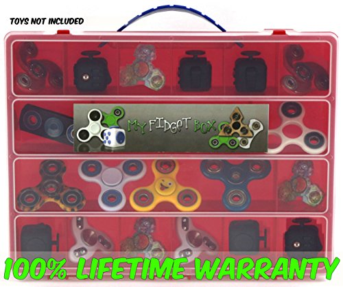 Rare White Jade Dragon (Fidget Carrying Case - Stores Dozens Of Spinners, Cubes, Bearings, Caps And LED Lights - Durable Toy Storage Organizers By Life Made Better - Red)
