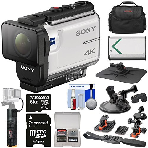 Sony Action Cam FDR-X3000 Wi-Fi GPS 4K HD Video Camera Camcorder with Action Mounts + 64GB Card + Battery + 6000mAh Hand Grip + Case + Kit