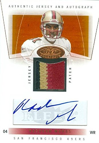Rashaun Woods autographed player worn jersey patch football card (San Francisco 49ers, Oklahoma State) 2004 Fleer Hot Prospects #90 Rookie