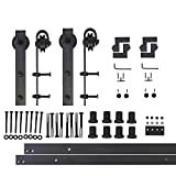 Vancleef 10FT Double Classic Design Sliding Barn Door Hardware Black Rustic Closet Interior Quiet Glide Track Rail Rolling Kit Set Industrial Strength, Easy to Follow Installation Manual Included