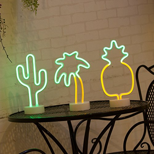 Coconut Palm Tree Neon Signs, LED Neon Light Sign with Holder Base for Party Supplies Table Decorations, Seasonal Home Decor Children Kids Gifts (Palm Tree with Holder)