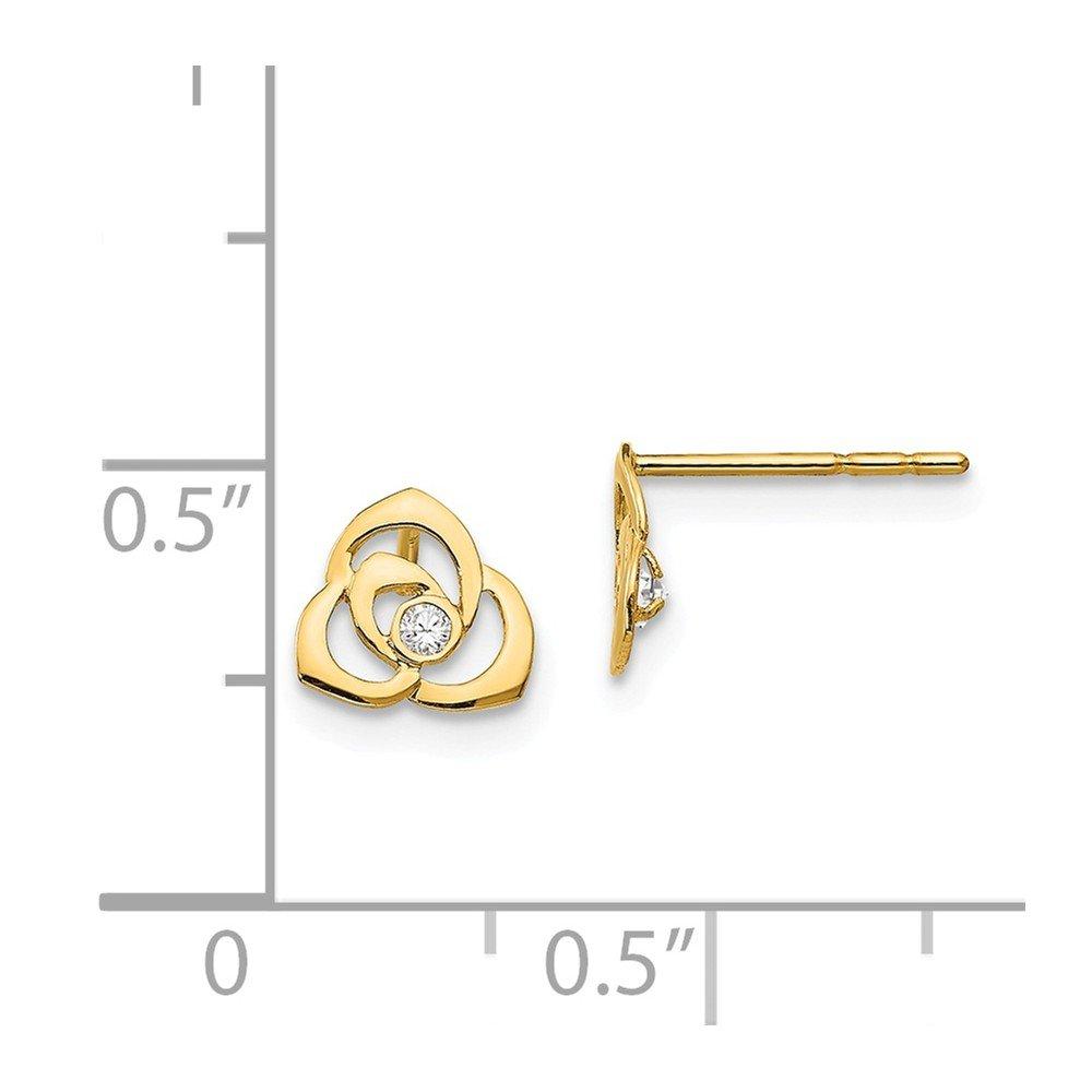14K Yellow Gold Madi K Childrens 7 MM CZ Flower Post Stud Earrings